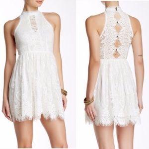 Free People • White Lace Halter Neck Mini Dress, 2